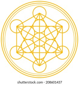 Metatron Cube Gold - Metatrons Cube and Merkaba derived from the Flower of Life, an ancient symbol. Vector illustration on white background.