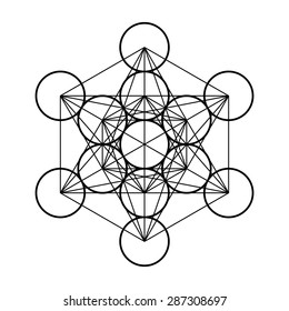 Metatron cube, sacred geometry, flower of life, platonic solids, abstract geometric drawing, vector illustration