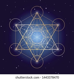 Metatron Cube symbol on a starry sky, elements of sacred geometry.