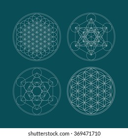 Metatrons Cube and Flower of life.