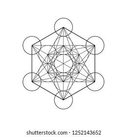 Metatrons Cube,  Flower of Life. Sacred geometry, graphic element Vector isolated Illustration. Mystic icon platonic solids, abstract geometric drawing, typical crop circles