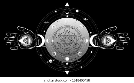 Metatrons Cube,  Flower of Life, Sacred geometry, third eye with hand esoteric spiritual icon and the moon phases. Masonic symbol eye inside triple moon pagan Wicca moon goddess icon isolated on black