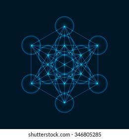 Metatrons Cube - Flower of Life. Vector Illustration.