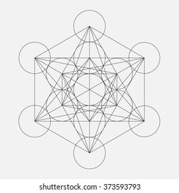 Metatron's Cube. Flower of life. Vector Geometric Symbol isolated. Sacred Geometric Figure named Metatrons Cube. Holy Glyph.