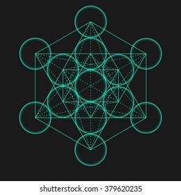 Metatron's Cube. Flower of life. Vector Geometric Symbol isolated. Sacred Geometric Figure named Metatrons Cube. Holy Glyph. Metatron's Cube isolated holy sacred symbol.