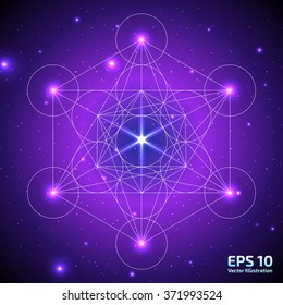 Metatrons Cube on Space background. Flower of life. Sacred Geometry Symbol. Ancient mystic symbol. Vector illustration