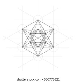 Metatrons cube, a vector illustration of flower of life, metatrons cube on white background