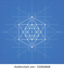 Metatrons cube, a vector illustration of metatrons cube on blueprint technical paper