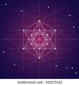 Metatrons cube, a vector illustration of metatrons cube on brown space background with stars