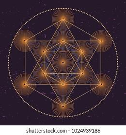 Metatrons cube, a vector illustration of sacred geometric mystical symbol.