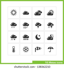 Meteo icon set. Vector black pictograms for web, computer and mobile apps, internet, interface design: weather cast, sun, cloud, rain, snow, moon, night, thermometer, snowflake, wind, umbrella symbol
