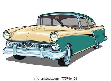 meteor 1955 retro vintage vector car