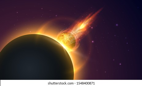Meteor flying to the planet, apocalypse, collision of planets, space catastrophe