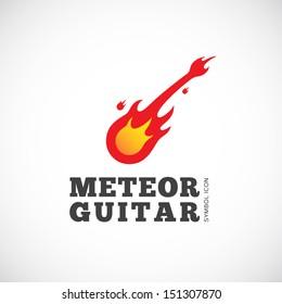 Meteor guitar vector symbol icon or Logo Template
