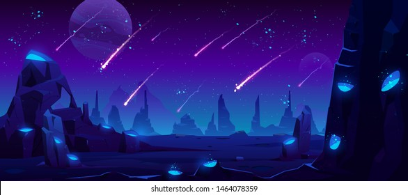 Meteor rain at night, neon space background with falling stars in dark sky of alien planet with craters full of glowing blue liquid, fantasy extraterrestrial landscape, Cartoon vector illustration