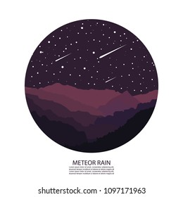 Meteor Rain. Meteor Shower. Vector Illustration