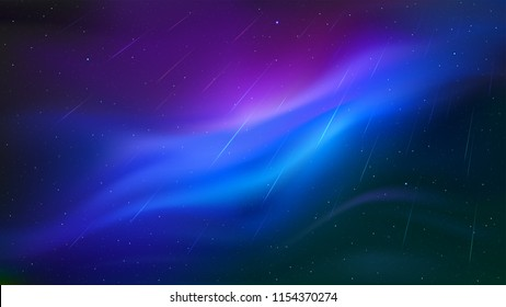 Meteor shower. Night sky with a bright blue and purple nebulae. Flashing traces of meteors. Falling stars flying through the beautiful space landscape. Realistic vector wallpaper. EPS gradient mesh.