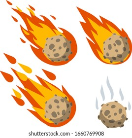 Meteor with trail of fire. Cartoon flat illustration. Set of Comet with tail. Dangerous space object. Big asteroid. Celestial object. Flying in sky. Stars and astronomy