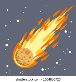 Meteor with trail of fire. Dangerous space object. Big asteroid. Comet with tail. Celestial object. Flying in sky. Stars and astronomy. Cartoon flat illustration