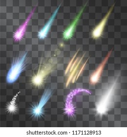 Meteorite falling vector set isolated on transparent background. Comet rain of hot, burning space materials. Glowing shooting stars light effects. Asteroid types with shining tales. Shining fireballs.
