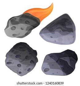 Meteorite icon set. Cartoon set of meteorite vector icons for web design