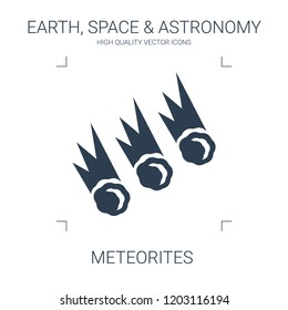 meteorites icon. high quality filled meteorites icon on white background. from earth space astronomy collection flat trendy vector meteorites symbol. use for web and mobile