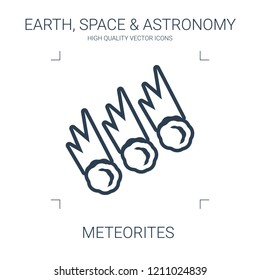 meteorites icon. high quality line meteorites icon on white background. from earth space astronomy collection flat trendy vector meteorites symbol. use for web and mobile
