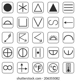 Meteorological signs and symbols vector collection