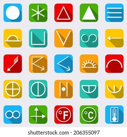 Meteorological signs and symbols vector collection. Flat design style icons with long shadows.