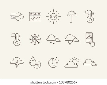 Meteorology icon set. Cloud, forecast, snow. Climate concept. Can be used for topics like temperature, weather, precipitation