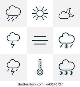 Meteorology Outline Icons Set. Collection Of Drizzle, Sun, Lightning And Other Elements. Also Includes Symbols Such As Thermometer, Temperature, Snowflake.