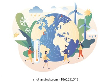 Meteorology science. World Meteorological day. Tiny people meteorologists studying and researching weather and climate condition. Modern flat cartoon style. Vector illustration on white background