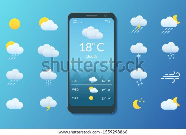Meteorology. Smartphone with weather forecast. Set of flat style icons for mobile applications and web sites. Vector illustration.