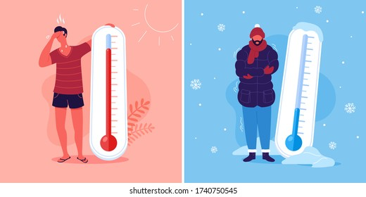 Meteorology thermometers. Heat and cold weather vector illustration. Cartoon characters in summer and winter season.