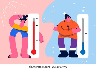 Meteorology thermometers and measuring temperature concept. Cold and hot people standing and feeling Heat and cold weather vector illustration