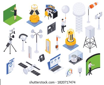 Meteorology weather forecast isometric set with isolated icons of wind pressure and temperature sensors with people vector illustration