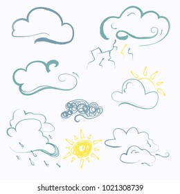 Meteorology weather icons with modern design.  Simple icons. Weather symbols.