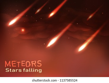 Meteors falling stars shooting astronomy flame burning sparkles concept abstract background, vector illustration