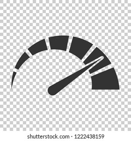 Meter dashboard icon in flat style. Credit score indicator level vector illustration on isolated background. Gauges with measure scale business concept.