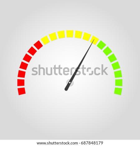 Meter Gauge Icon Speedometer Red Yellow Stock Vector (Royalty Free ...