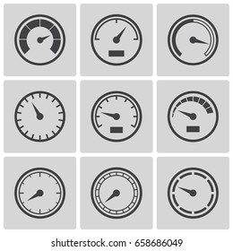 Meter icons set. Speedometer display, power interface, gauge with arrow to measure speed of a vehicle, gas or oil. Vector flat style illustration, gray and black