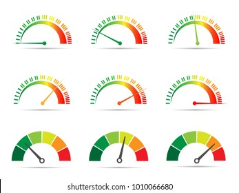 Meter signs info-graphic gauge element from red to green and green to red vector illustration