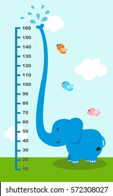 Meter wall with elephant.vector illustration.