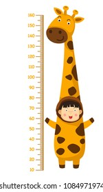 Meter wall with giraffe costume.vector illustration