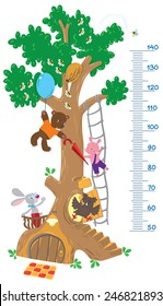 Meter wall or height meter with big tree and funny rabbit, piglet, owl and bear with balloon