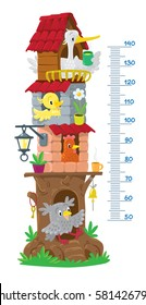 Meter wall or height chart with big fairy tree and funny birds, owl, chicken, hen, stork. With scale to measure growth. Children vector illustration.