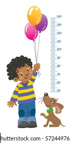 Meter wall or height chart of boy in striped sweater and jeans with balloons and funny dog beside him. Children vector illustration with a Height scale from 50 to 140 centimeters to measure growth