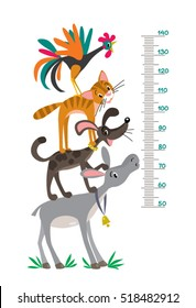 Meter wall or height meter with funny Bremen Town Musicians. Height chart or wall sticker. Childrens vector illustration with scale from 50 to 140 centimeter.