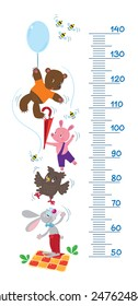 Meter wall or height meter with funny rabbit, piglet, owl and bear with balloon  surrounded by bees