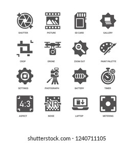 Metering, Paint palette, Zoom out, Aspect, Timer, Shutter, Crop, Settings, Laptop, Noise, Sd card icon 16 set EPS 10 vector format. Icons optimized for both large and small resolutions.